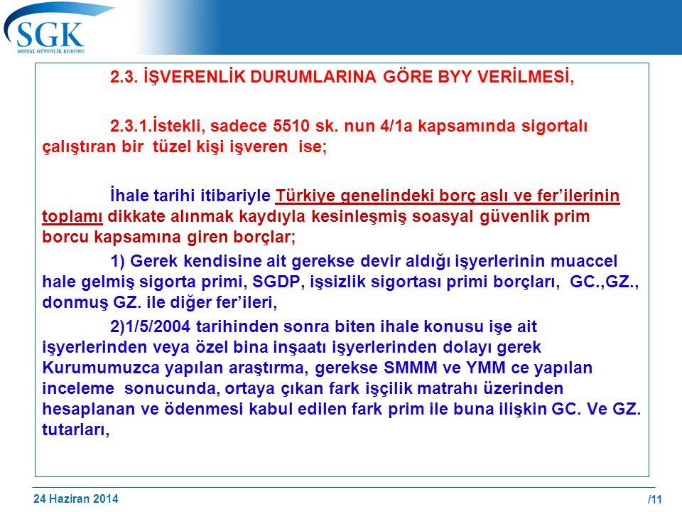 2. 3. İŞVERENLİK DURUMLARINA GÖRE BYY VERİLMESİ, 2. 3. 1