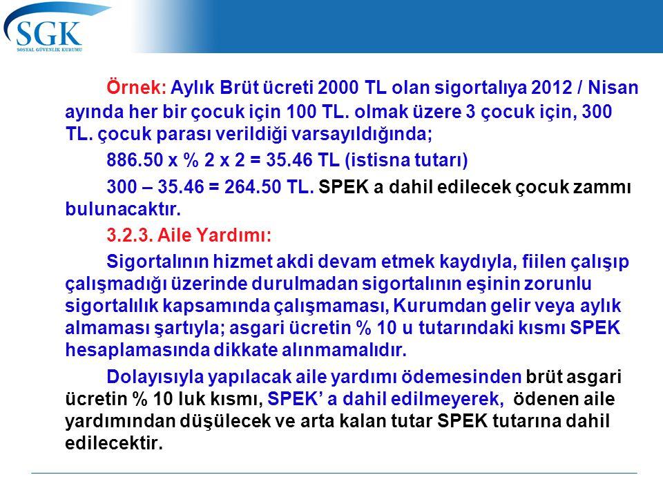 Örnek: Aylık Brüt ücreti 2000 TL olan sigortalıya 2012 / Nisan ayında her bir çocuk için 100 TL. olmak üzere 3 çocuk için, 300 TL. çocuk parası verildiği varsayıldığında;