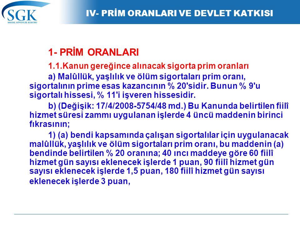 IV- PRİM ORANLARI VE DEVLET KATKISI
