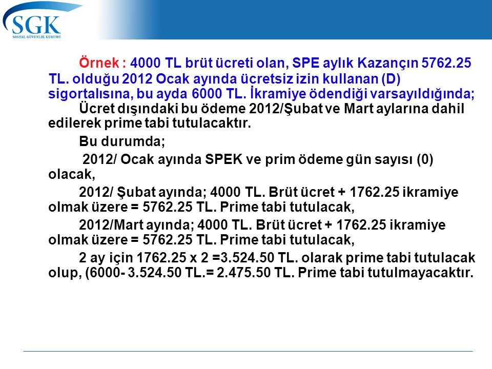 Örnek : 4000 TL brüt ücreti olan, SPE aylık Kazançın 5762. 25 TL
