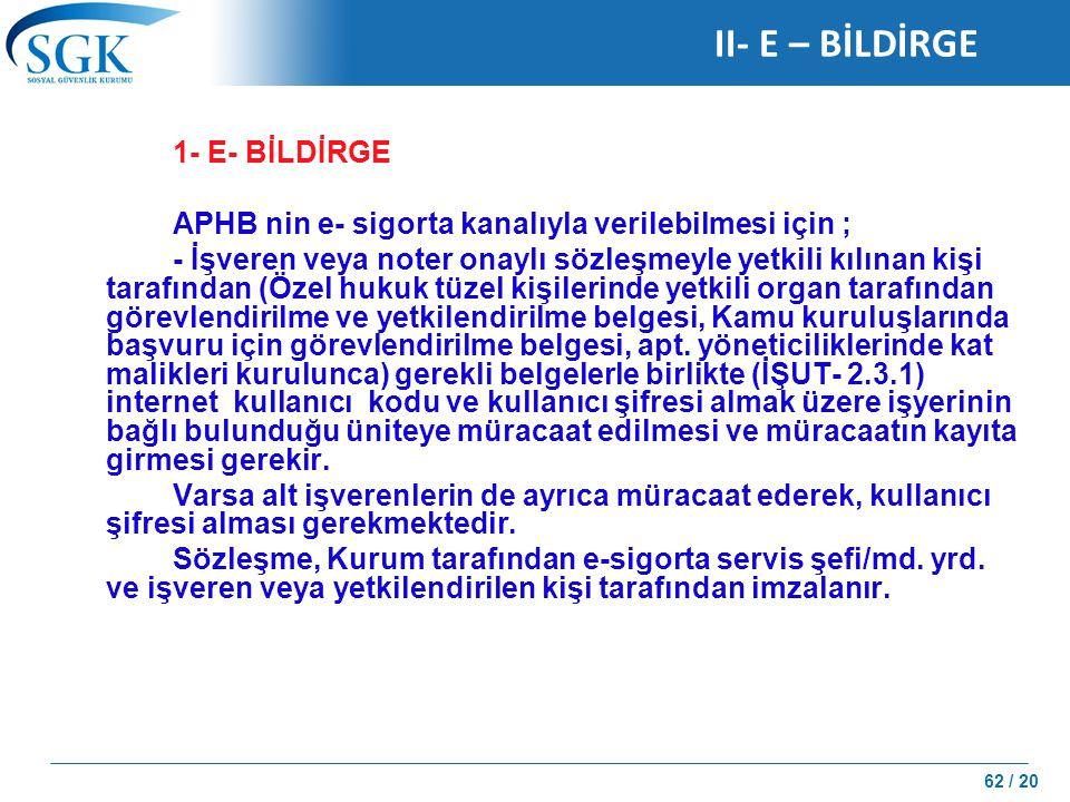 II- E – BİLDİRGE 1- E- BİLDİRGE