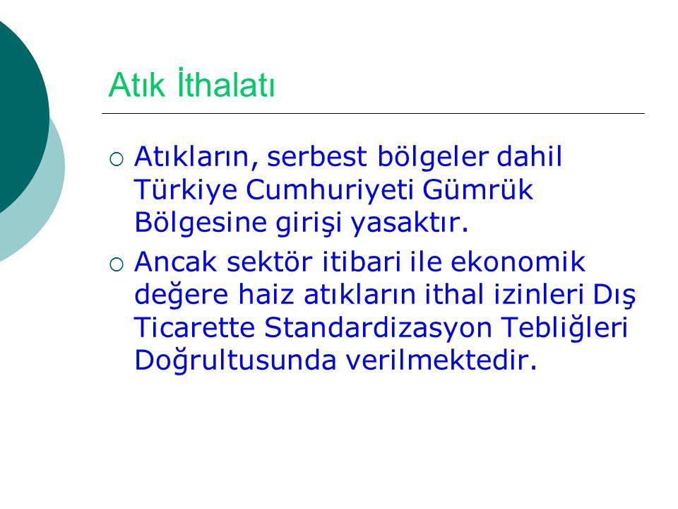 Atık İthalatı Atıkların, serbest bölgeler dahil Türkiye Cumhuriyeti Gümrük Bölgesine girişi yasaktır.