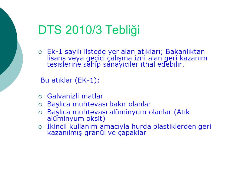 DTS 2010/3 Tebliği