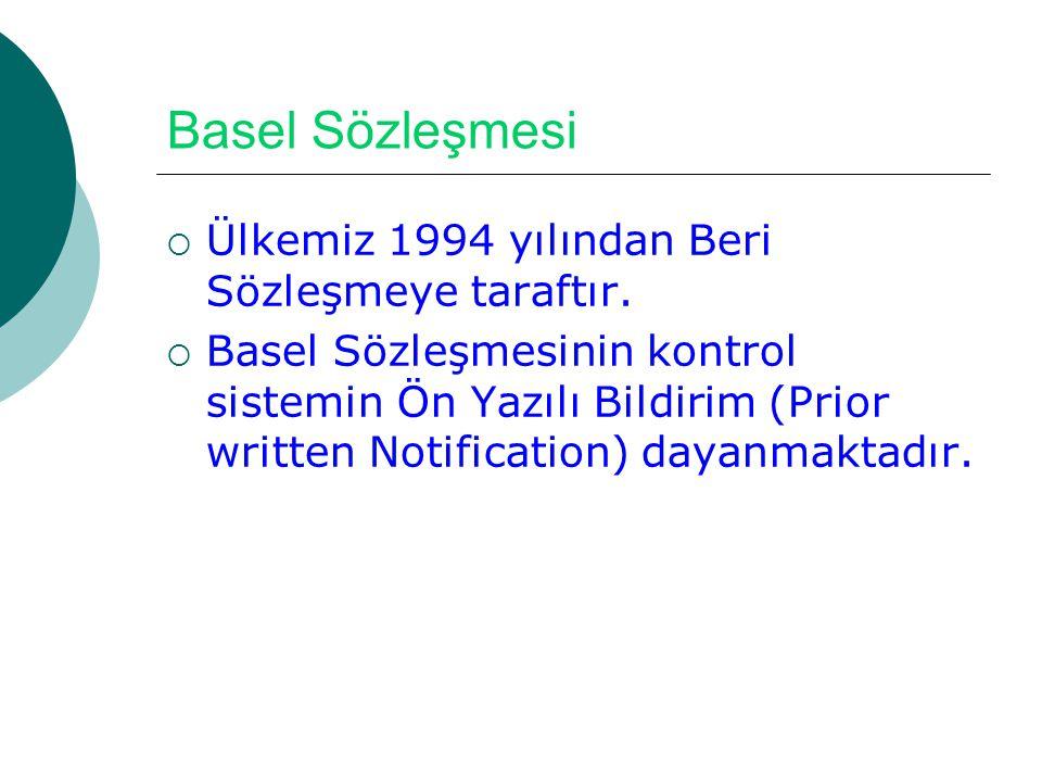 Basel Sözleşmesi Ülkemiz 1994 yılından Beri Sözleşmeye taraftır.