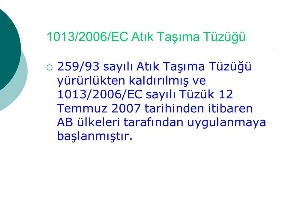 1013/2006/EC Atık Taşıma Tüzüğü