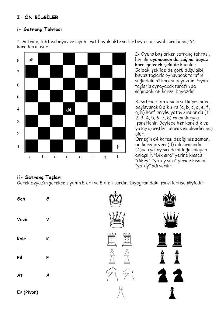 I- ÖN BİLGİLER i- Satranç Tahtası ii- Satranç Taşları