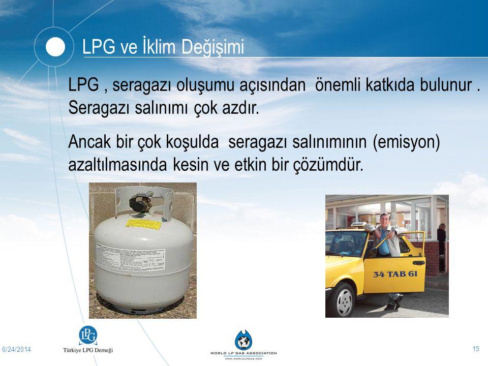 LPG ve İklim Değişimi LPG , seragazı oluşumu açısından önemli katkıda bulunur . Seragazı salınımı çok azdır.
