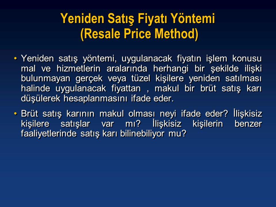 Yeniden Satış Fiyatı Yöntemi (Resale Price Method)