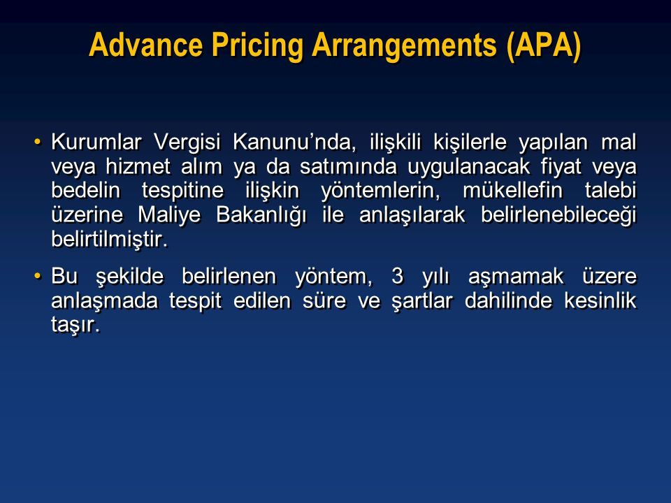 Advance Pricing Arrangements (APA)