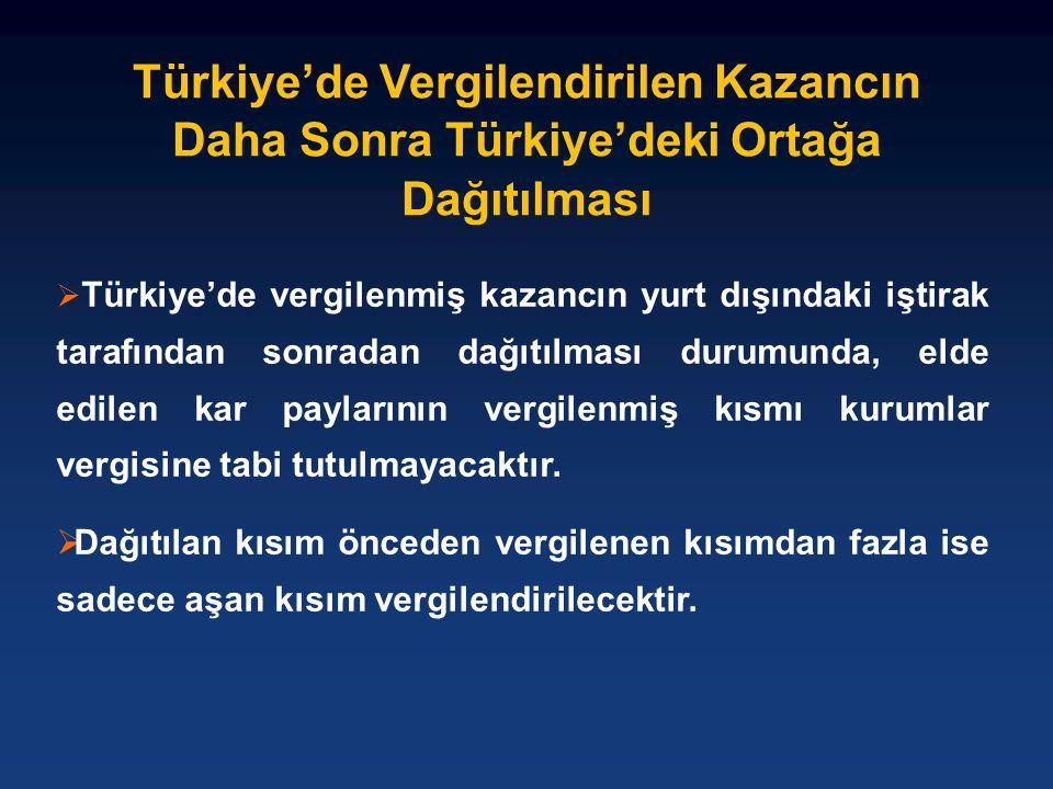 Türkiye'de Vergilendirilen Kazancın Daha Sonra Türkiye'deki Ortağa Dağıtılması