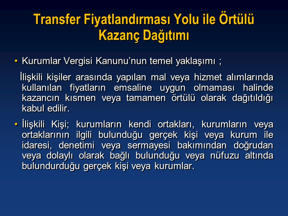 Transfer Fiyatlandırması Yolu ile Örtülü Kazanç Dağıtımı