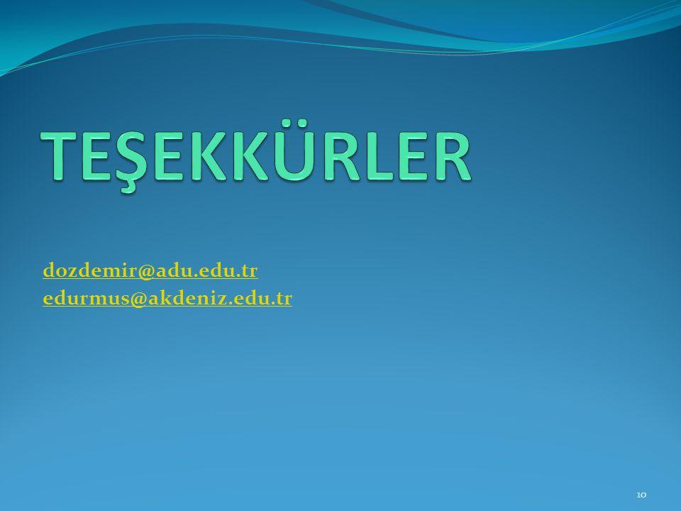 TEŞEKKÜRLER dozdemir@adu.edu.tr edurmus@akdeniz.edu.tr
