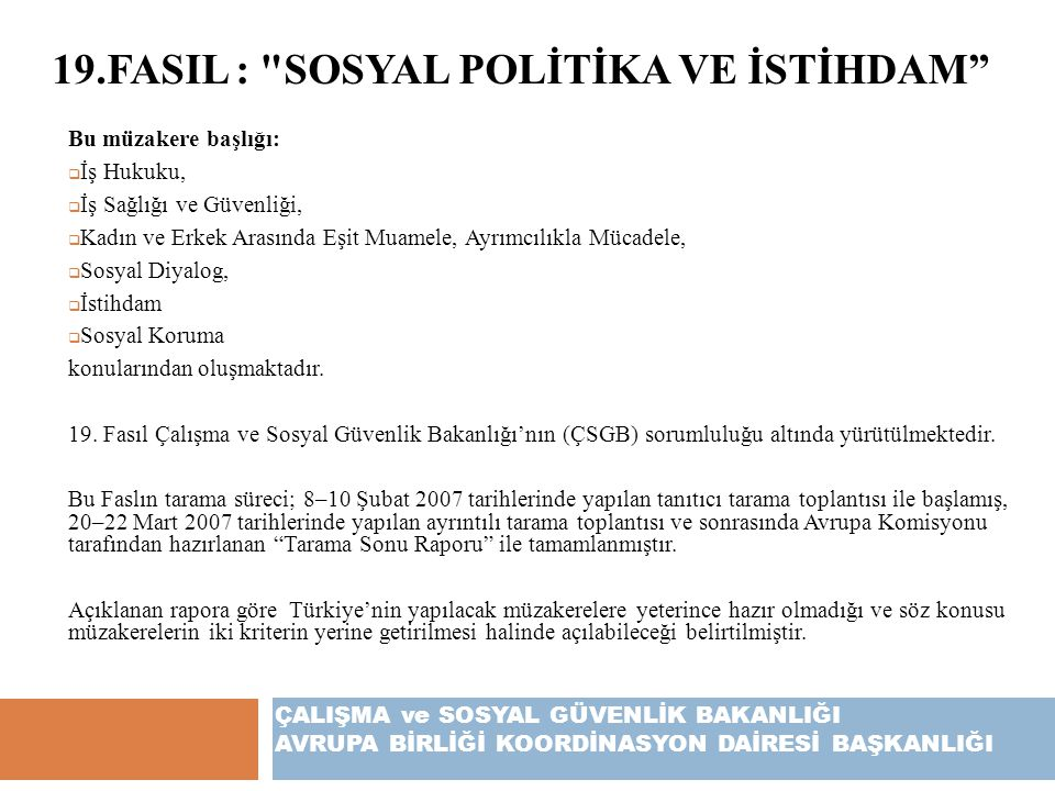 19.FASIL : Sosyal Polİtİka ve İstİhdam