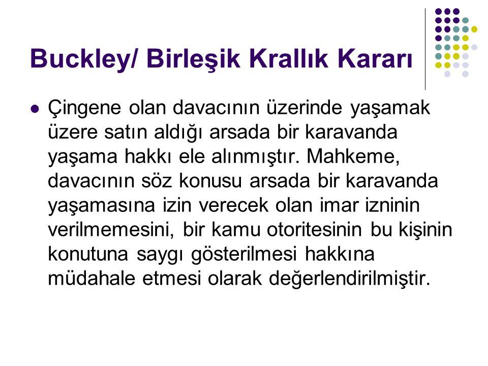 Buckley/ Birleşik Krallık Kararı
