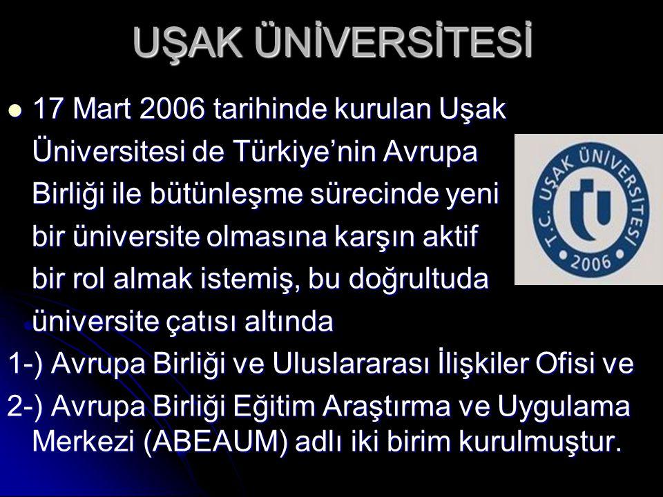 UŞAK ÜNİVERSİTESİ 17 Mart 2006 tarihinde kurulan Uşak
