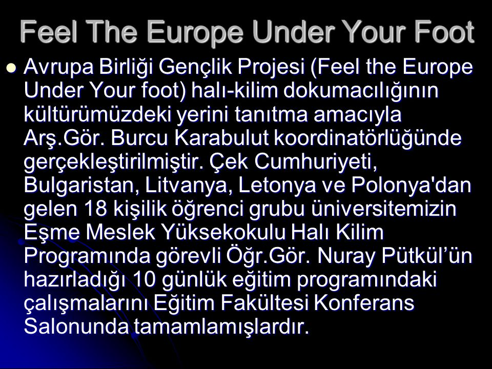Feel The Europe Under Your Foot