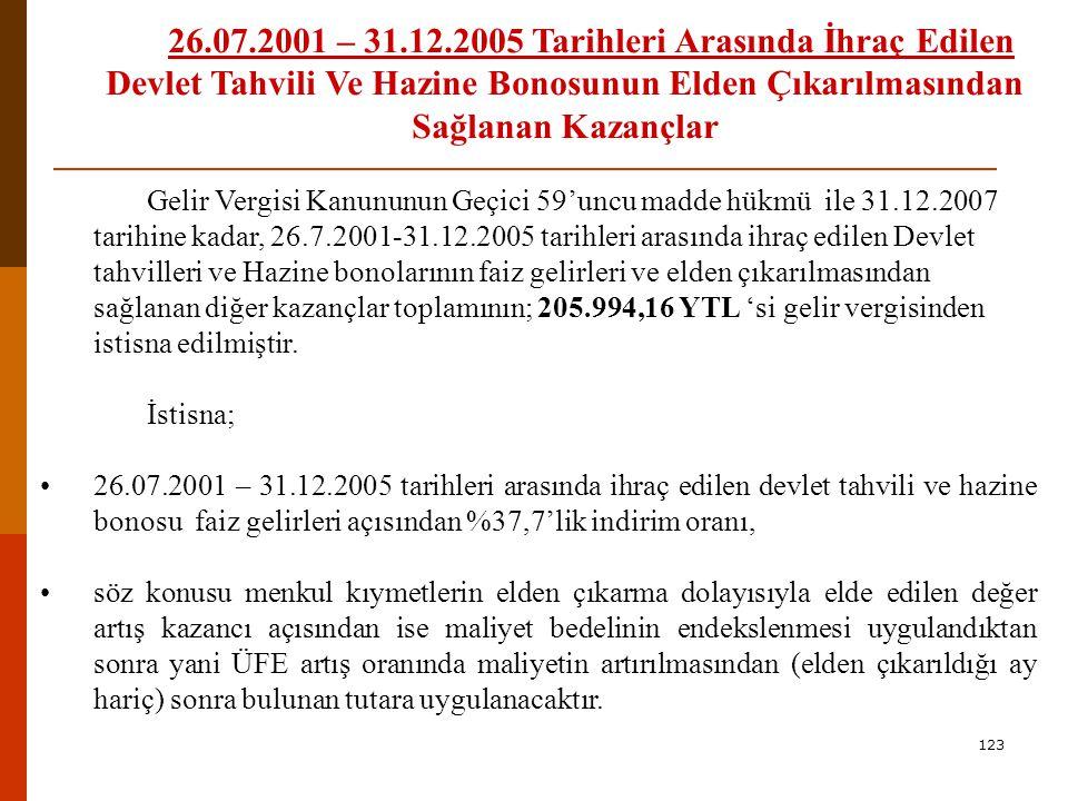 26.07.2001 – 31.12.2005 Tarihleri Arasında İhraç Edilen Devlet Tahvili Ve Hazine Bonosunun Elden Çıkarılmasından Sağlanan Kazançlar