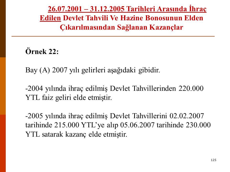 Bay (A) 2007 yılı gelirleri aşağıdaki gibidir.