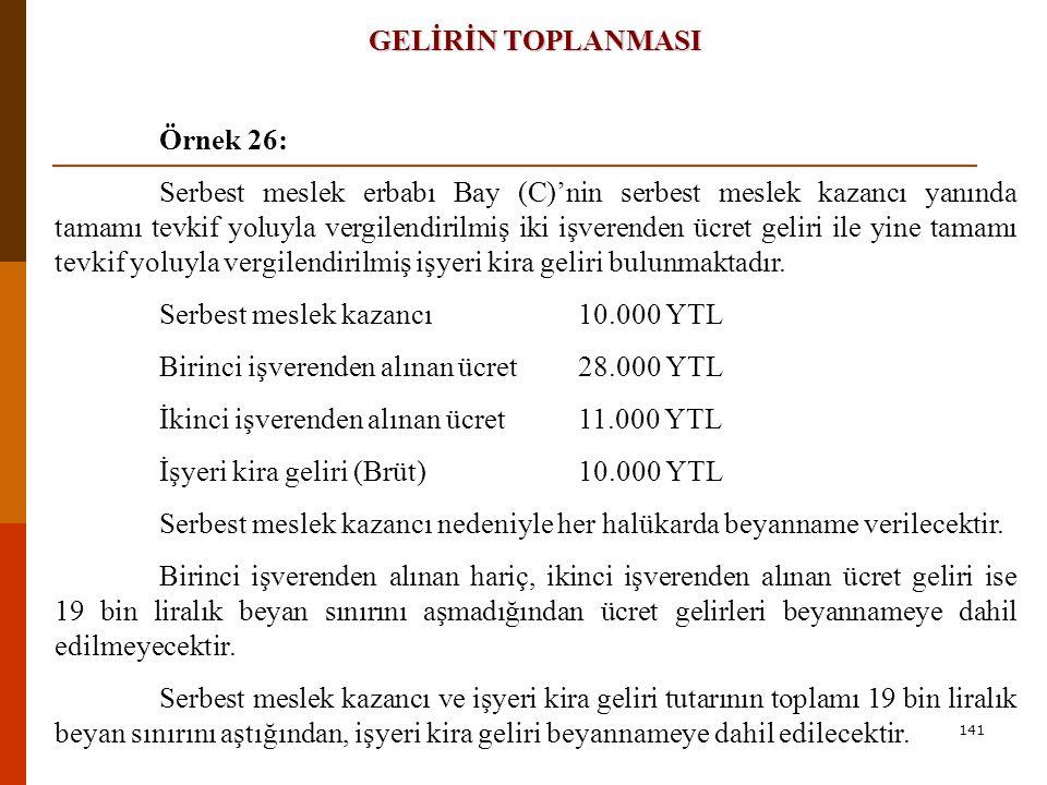 Serbest meslek kazancı 10.000 YTL