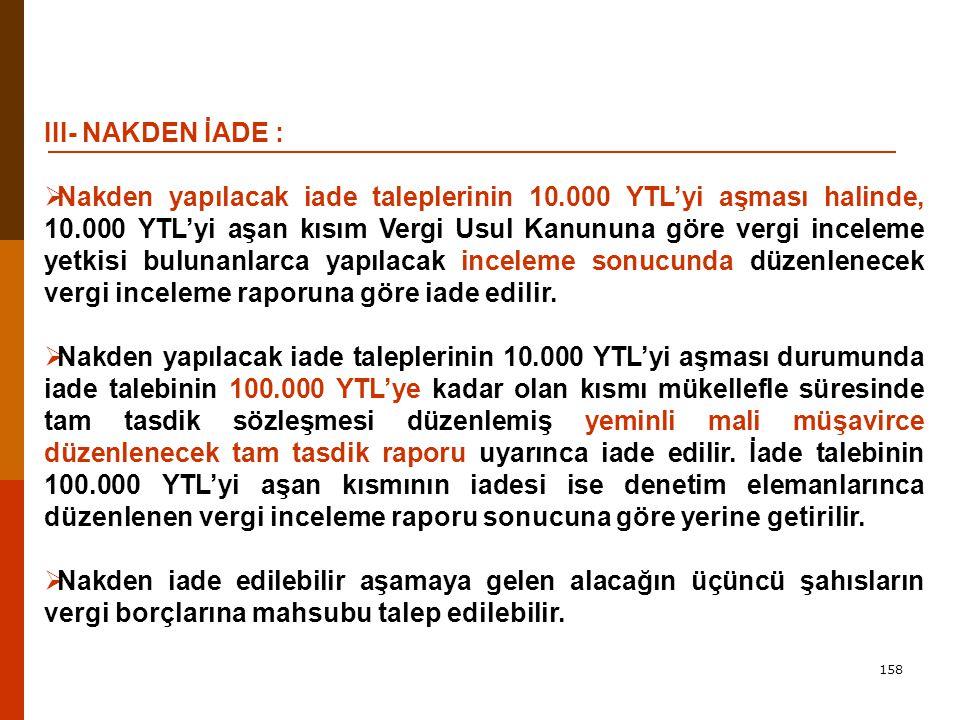 III- NAKDEN İADE :