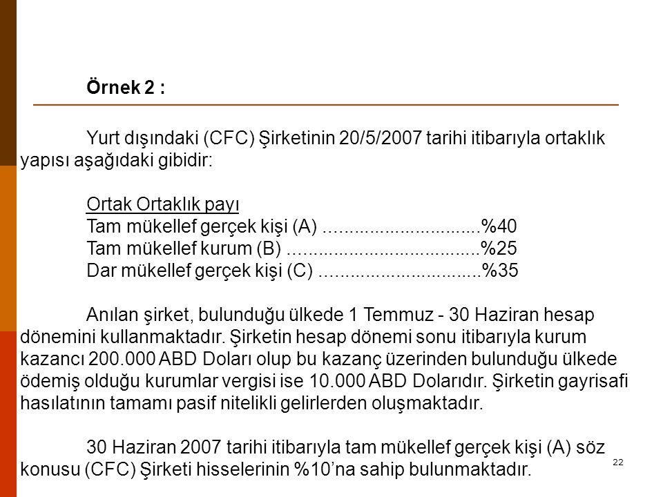 Örnek 2 : Yurt dışındaki (CFC) Şirketinin 20/5/2007 tarihi itibarıyla ortaklık yapısı aşağıdaki gibidir: