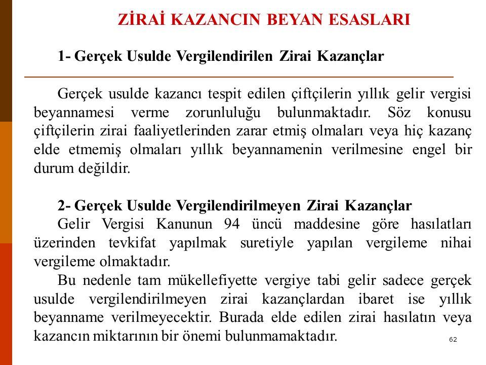 ZİRAİ KAZANCIN BEYAN ESASLARI