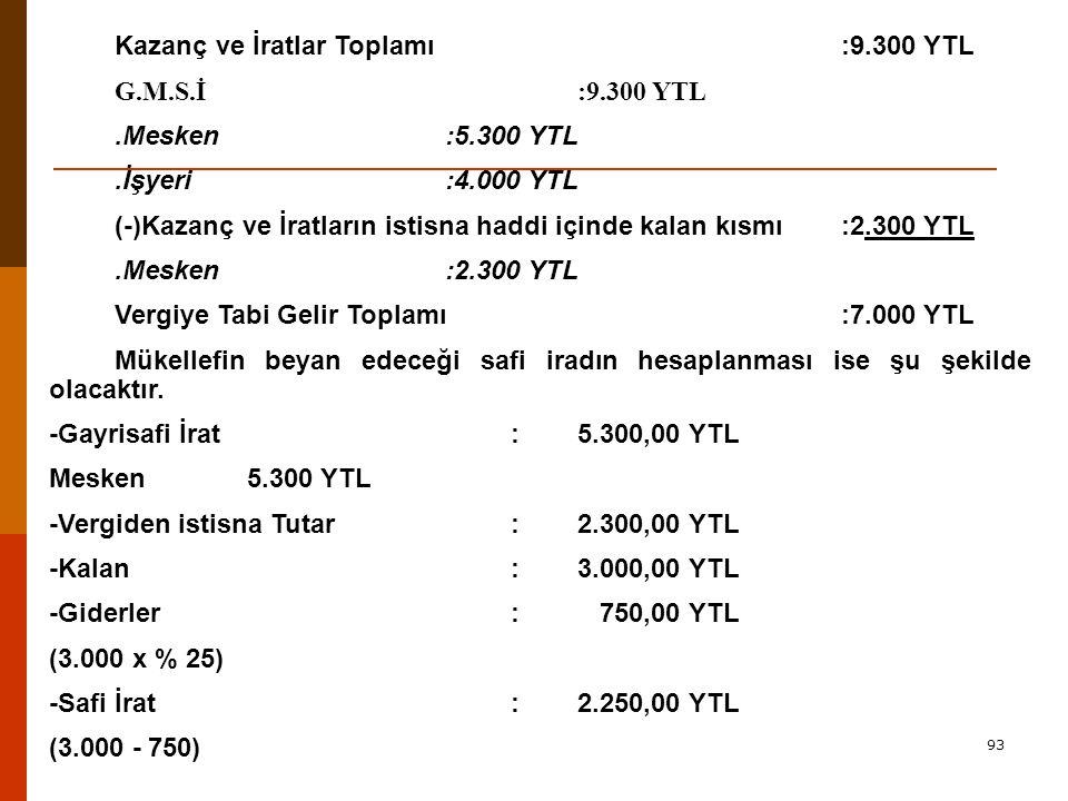 Kazanç ve İratlar Toplamı :9.300 YTL