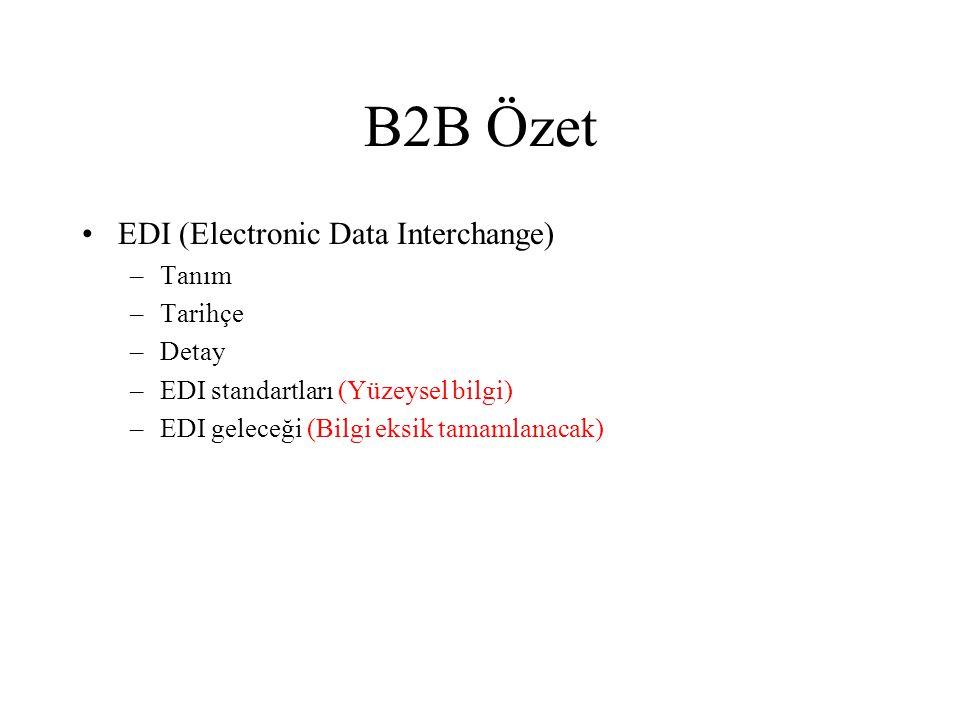 B2B Özet EDI (Electronic Data Interchange) Tanım Tarihçe Detay