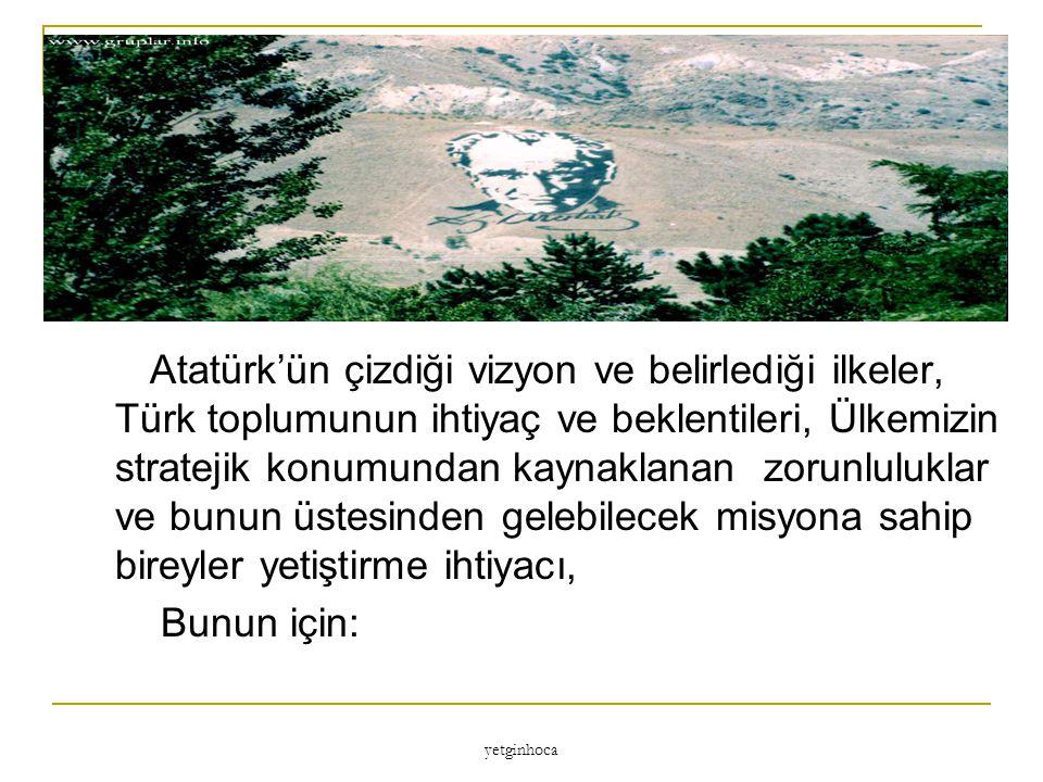 Atatürk'ün çizdiği vizyon ve belirlediği ilkeler, Türk toplumunun ihtiyaç ve beklentileri, Ülkemizin stratejik konumundan kaynaklanan zorunluluklar ve bunun üstesinden gelebilecek misyona sahip bireyler yetiştirme ihtiyacı,