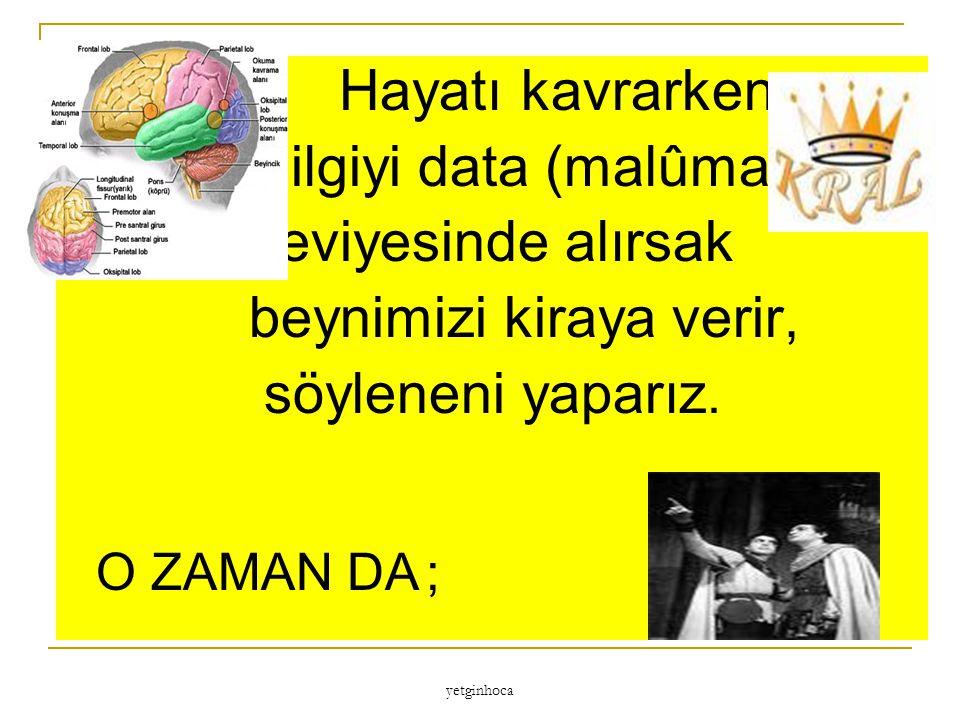 bilgiyi data (malûmat) seviyesinde alırsak beynimizi kiraya verir,