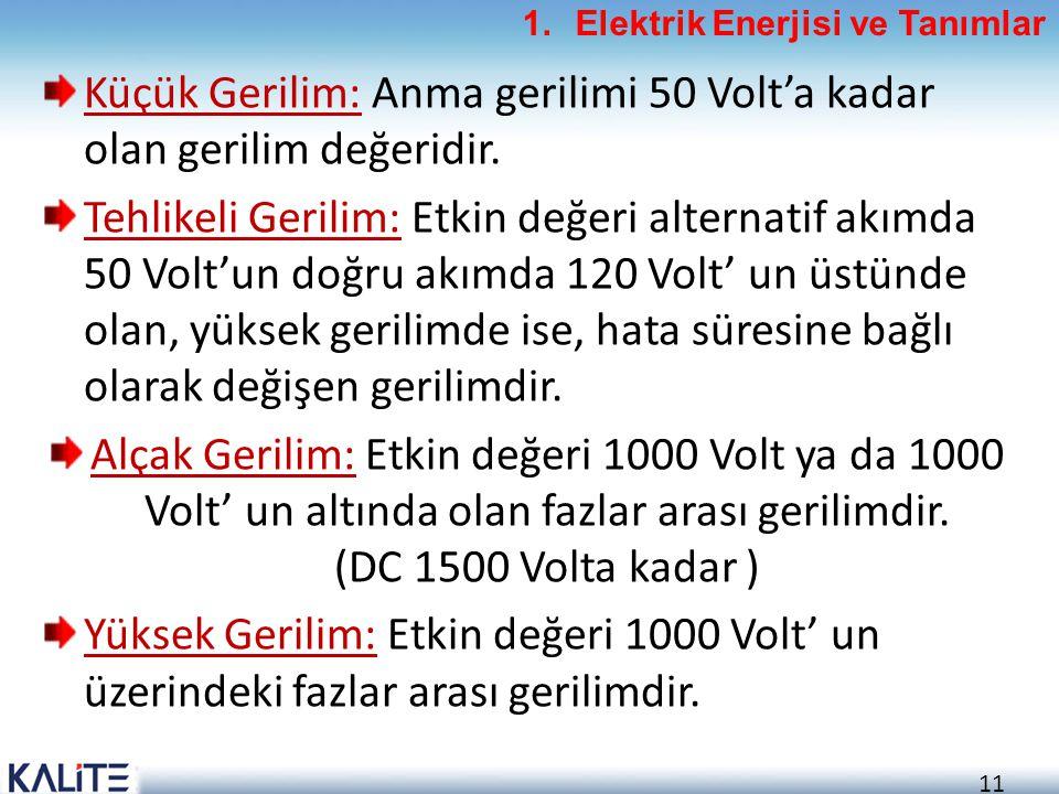 Küçük Gerilim: Anma gerilimi 50 Volt'a kadar olan gerilim değeridir.