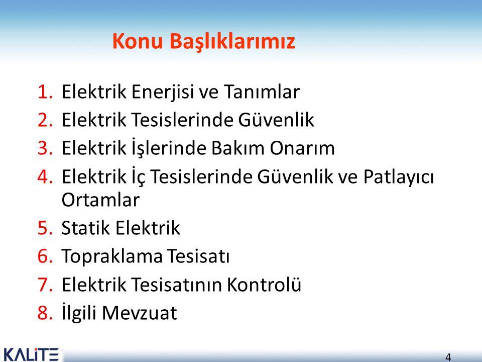 Konu Başlıklarımız Elektrik Enerjisi ve Tanımlar