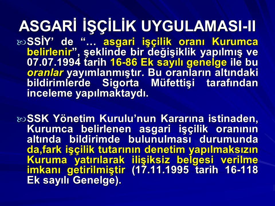 ASGARİ İŞÇİLİK UYGULAMASI-II