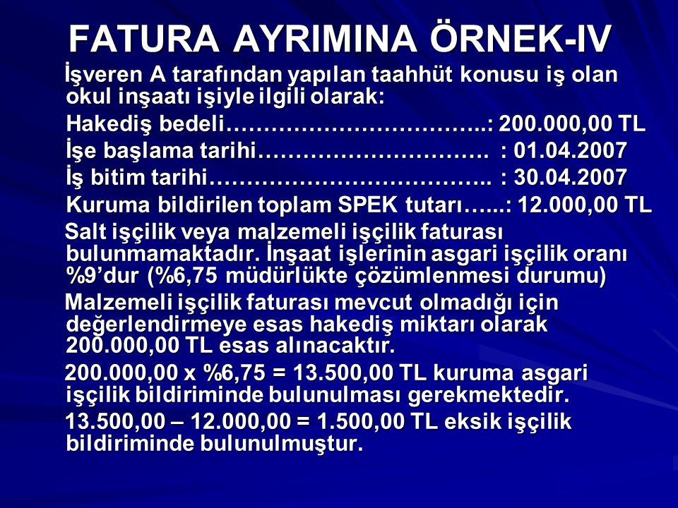 FATURA AYRIMINA ÖRNEK-IV