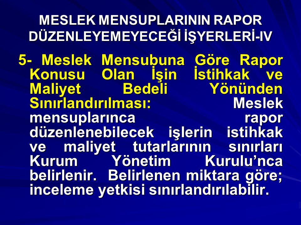 MESLEK MENSUPLARININ RAPOR DÜZENLEYEMEYECEĞİ İŞYERLERİ-IV