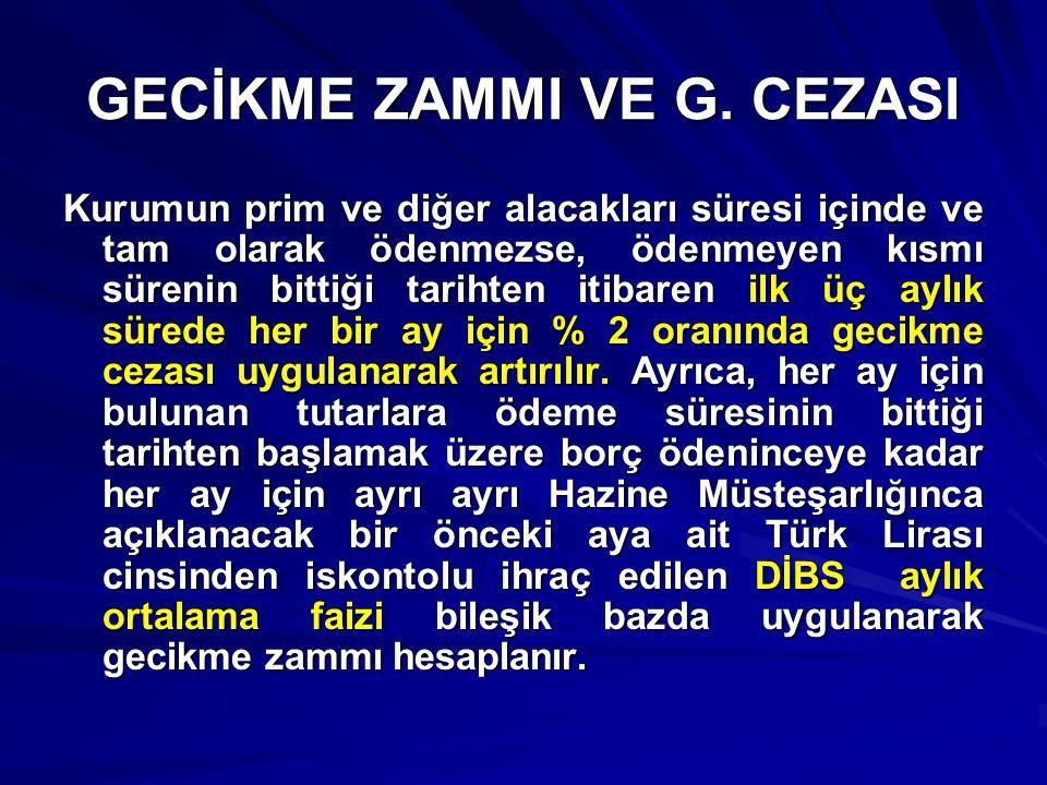 GECİKME ZAMMI VE G. CEZASI