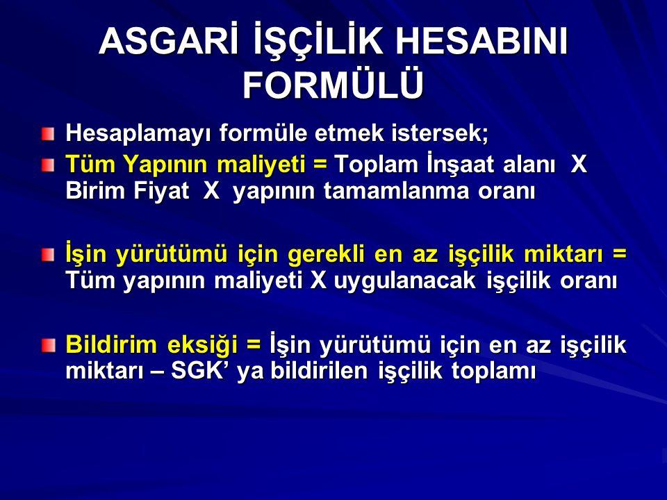 ASGARİ İŞÇİLİK HESABINI FORMÜLÜ