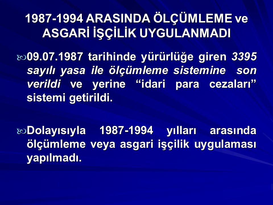 1987-1994 ARASINDA ÖLÇÜMLEME ve ASGARİ İŞÇİLİK UYGULANMADI