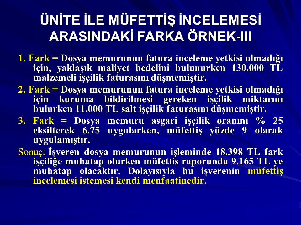 ÜNİTE İLE MÜFETTİŞ İNCELEMESİ ARASINDAKİ FARKA ÖRNEK-III