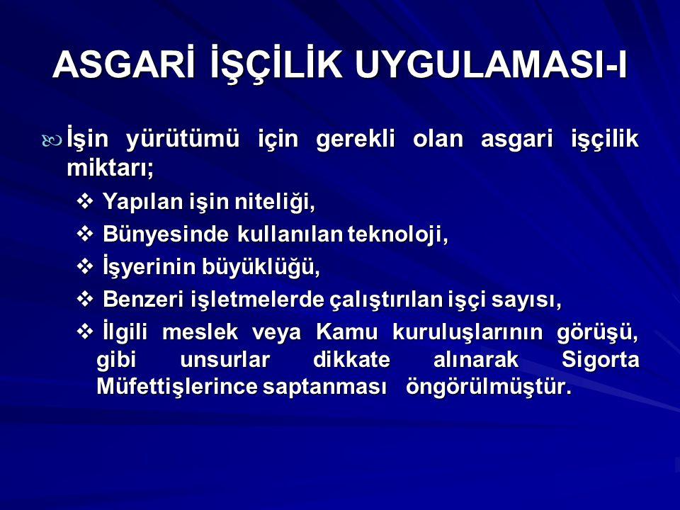 ASGARİ İŞÇİLİK UYGULAMASI-I