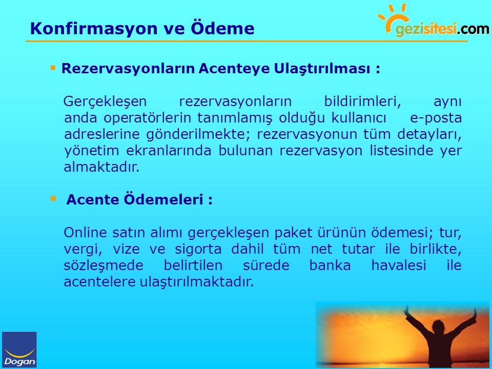 Konfirmasyon ve Ödeme Rezervasyonların Acenteye Ulaştırılması :