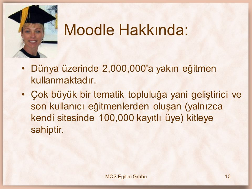 Moodle Hakkında: Dünya üzerinde 2,000,000 a yakın eğitmen kullanmaktadır.