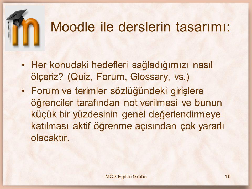 Moodle ile derslerin tasarımı:
