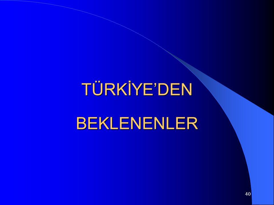 TÜRKİYE'DEN BEKLENENLER