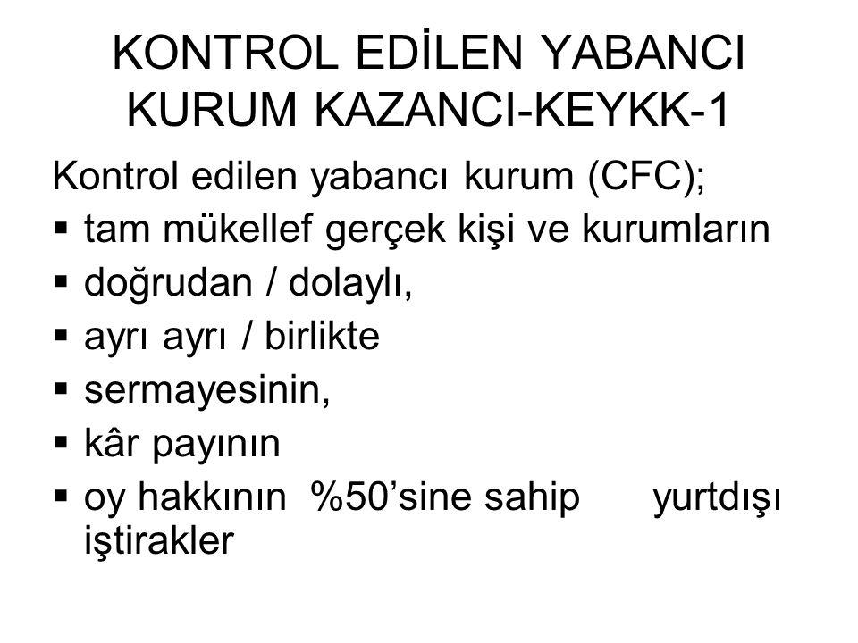 KONTROL EDİLEN YABANCI KURUM KAZANCI-KEYKK-1