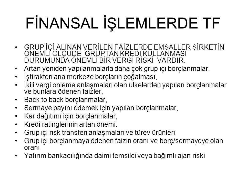 FİNANSAL İŞLEMLERDE TF