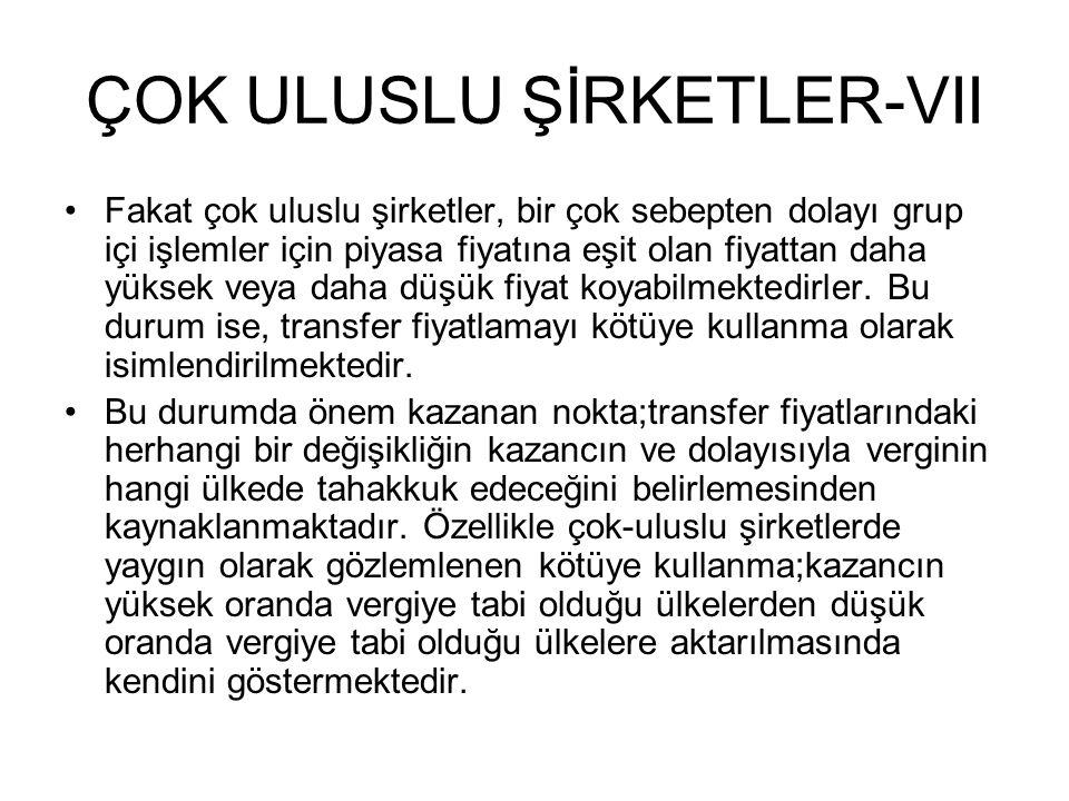 ÇOK ULUSLU ŞİRKETLER-VII