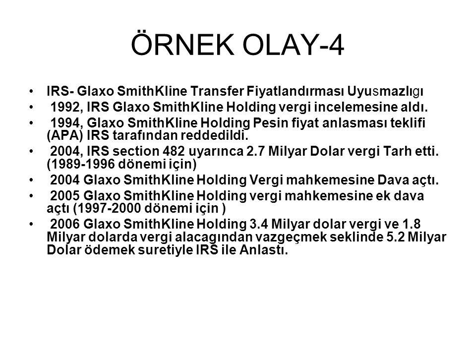 ÖRNEK OLAY-4 IRS- Glaxo SmithKline Transfer Fiyatlandırması Uyusmazlıgı. 1992, IRS Glaxo SmithKline Holding vergi incelemesine aldı.