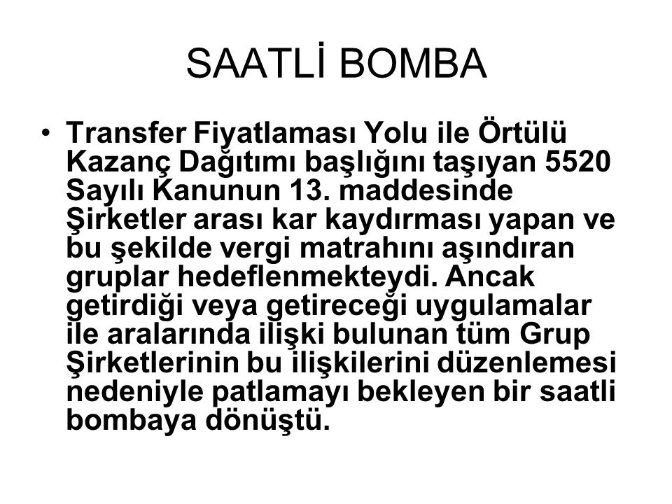 SAATLİ BOMBA