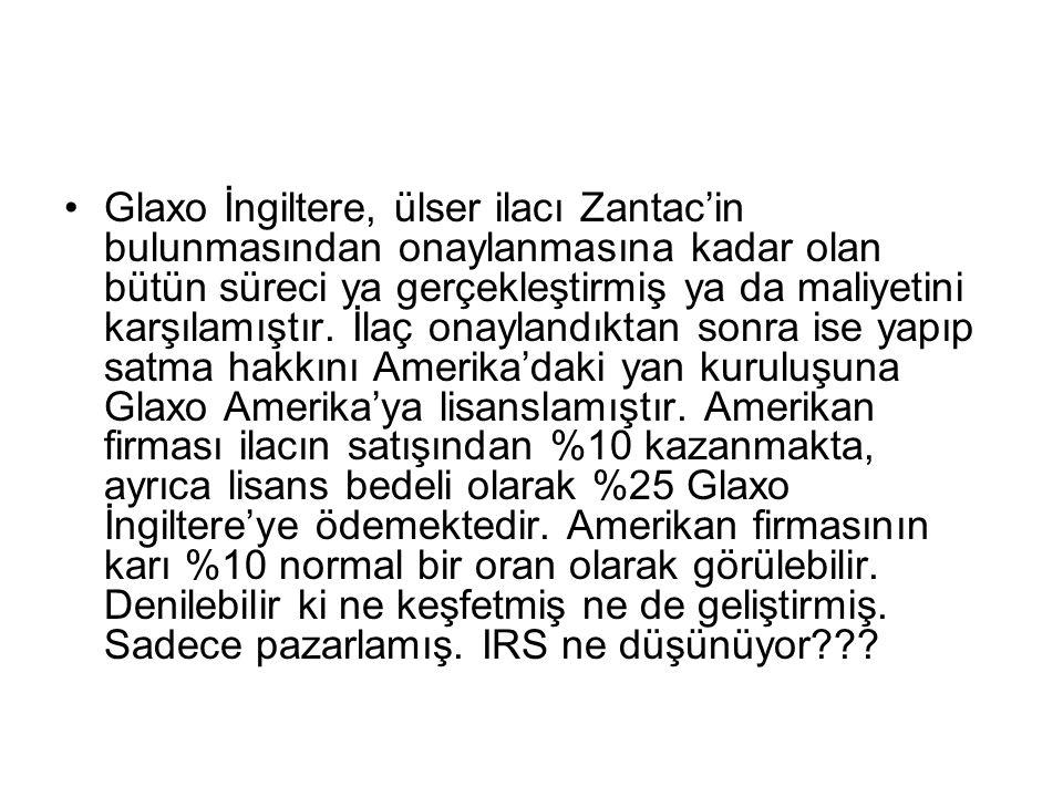 Glaxo İngiltere, ülser ilacı Zantac'in bulunmasından onaylanmasına kadar olan bütün süreci ya gerçekleştirmiş ya da maliyetini karşılamıştır.